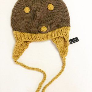 Brown / Mustard Knit Beanie with Neck Strap